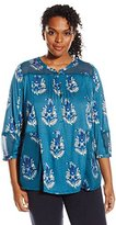 Lucky Brand Women's Plus-Size Mixed Henley Top