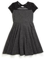 DKNY Girl's Chambers Mesh-Detail Knit Dress