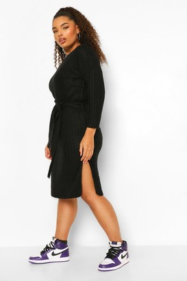 boohoo Plus Rib Knit Self Belted Midi Dress