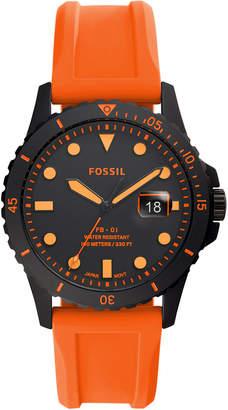 Fossil Men Fb-01 Orange Silicone Strap Watch 42mm