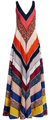 Altuzarra Multi-Ellsworth Striped Silk Maxi Dress