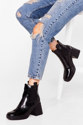 Nasty Gal Womens Square the Gossip Croc Faux Leather Boots - Black - 3