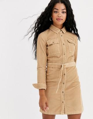 Miss Selfridge cord shirt dress in camel-Beige