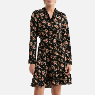 Molly Bracken Floral Print Mini Dress with V-Neck and Tie-Waist