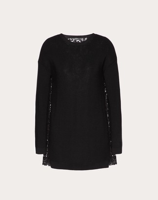 Valentino Wool And Heavy Lace Pleated Jumper Women Red M