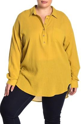 MelloDay Gauze Button Front Tunic (Plus Size)