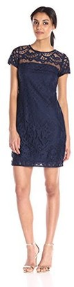 Taylor Dresses Women's All Over Lace Dress with Cap Sleeve