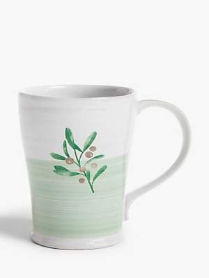 John Lewis & Partners Christmas Tree Berries Mug, 400ml, White/Green