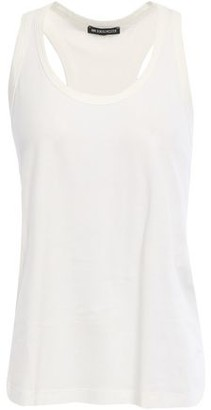 Ann Demeulemeester Pleated Woven-trimmed Cotton-jersey Tank