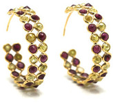 Tresor Collection - Rose cut champaign diamond and ruby double row hoop earrings in yellow gold