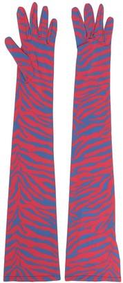 MM6 MAISON MARGIELA Zebra-Pattern Longline Gloves