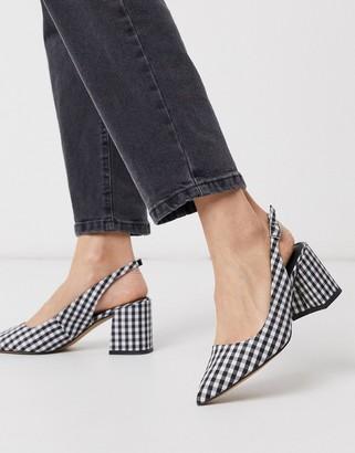 ASOS DESIGN Sammy slingback mid heels in black and white gingham
