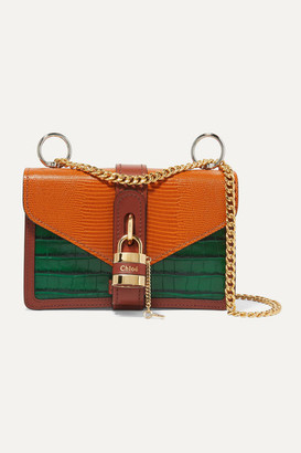 Chloé Aby Chain Paneled Croc-effect And Lizard-effect Leather Shoulder Bag - Orange