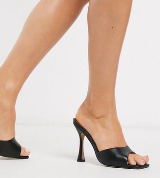 ASOS DESIGN Wide Fit Nero square toe mules in black