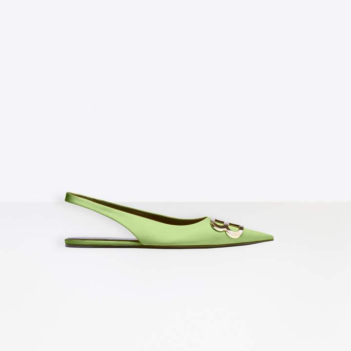 Balenciaga BB Flat Slingback Ballerina in green stretch satin
