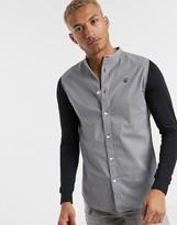 SikSilk houndstooth grandad collar shirt