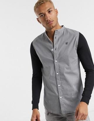 SikSilk houndstooth grandad collar shirt-Black