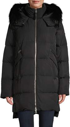 Derek Lam 10 Crosby Fox Fur-Trim & Faux Fur Lined Down Coat