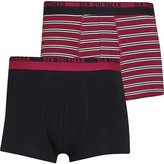 Ben Sherman Mens Heremiah Two Pack Trunks Black/Red Stripe
