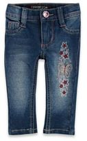Stargate® Knit Butterfly Embroidered Skinny Jegging in Denim