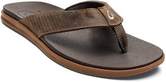 OluKai Men's Alania Embroidered Leather Thong Sandals