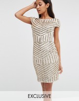 TFNC Cap Sleeve Midi Dress In Patterned Sequin