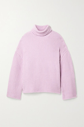 Nanushka Raw Ribbed Wool-blend Turtleneck Sweater - Lilac