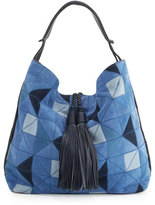 Rebecca Minkoff Isobel Patchwork Suede Hobo Bag, Blue/Multi