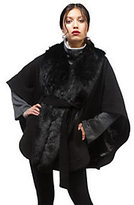 Rachel Zoe Luxe Cape with Faux Fur Collar and Removeable Belt