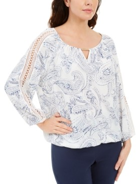 JM Collection Paisley-Print Keyhole Crochet Top, Created for Macy's