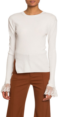 Chloé Organza-Cuff Ribbed Knit Sweater