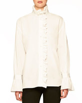 Burberry Ruffle-Trim Cotton Shirt
