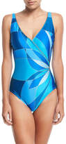 Gottex Kaleidoscope-Print Surplice V-Neck One-Piece Swimsuit