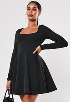 Missguided Petite Black Long Sleeve Scuba Skater Dress