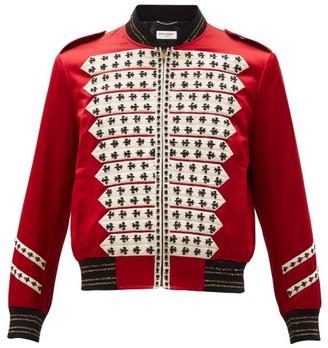 Saint Laurent Fleur De Lys-beaded Satin Bomber Jacket - Mens - Red