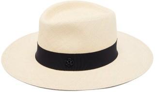 Maison Michel Charles Grosgrain-trim Straw Panama Hat - Navy