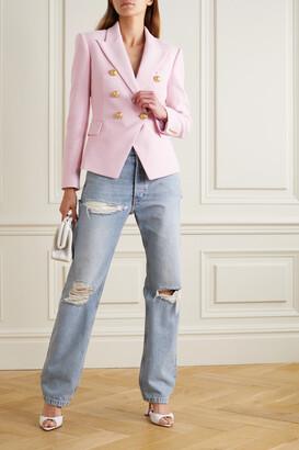 Balmain Double-breasted Cotton-pique Blazer - Pink