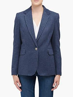 Helene For Denim Wardrobe Carinne Check Wool Blend Jacket, Blue