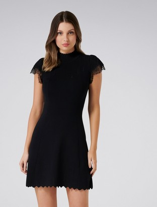 Forever New Hazel Lace Sleeve Dress - Black - 8