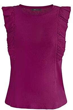 BCBGMAXAZRIA Ruffle Sleeve Knit Top (Very Berry) Women's Clothing