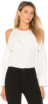 Halston Cold Shoulder Tunic With Flutter Detail in White. - size 0 (also in )