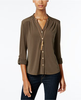 NY Collection Petite Chain-Necklace Shirt