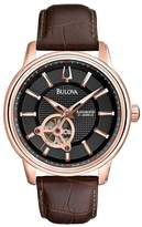 Bulova Automatic Brown Leather Strap Mens Watch
