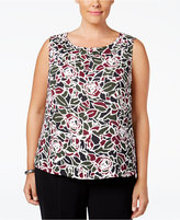Nine West Plus Size Printed Pleat-Neck Shell