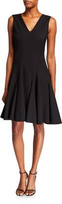 Josie Natori V-Neck Sleeveless Compact Knit Fit-and-Flare Dress