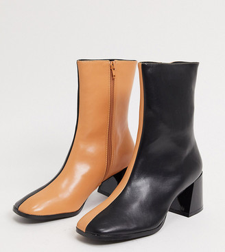 Z Code Z Z_Code_Z Exclusive Nat vegan square toe ankle boots in black and camel mix