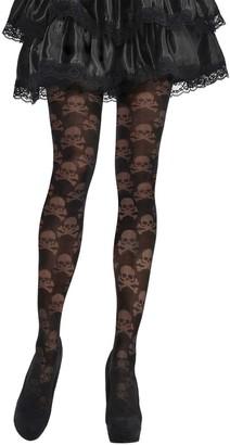 Yummy Bee - Pirate Tights Women - Skull Crossbone Black Fancy Dress Tights - Halloween
