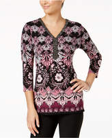 JM Collection Petite Printed Embellished-Neck Top, Created for Macy's