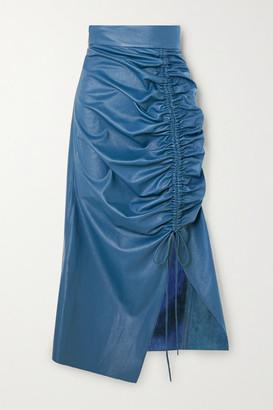 MATÉRIEL Ruched Faux Leather Midi Skirt - Blue