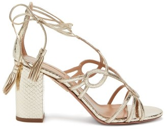 Aquazzura Gitana 85 Metallic Python-effect Leather Sandals - Silver